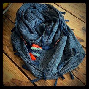 H&M Blue Tassel Scarf